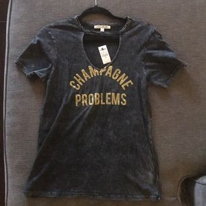 Distressed Grey V-neck T-shirt Champagne Problems